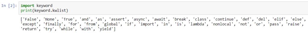 Słowa kluczowe w Pythonie