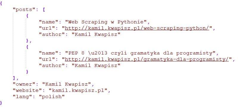 Przykład danych w formacie JSON