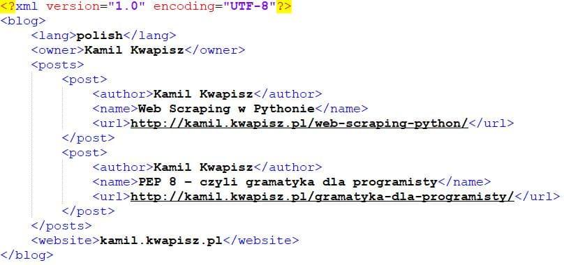 Przykład kodu w języku XML