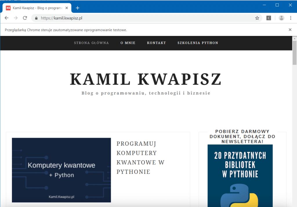 Automatyczne wejście na stronę kamil.kwapisz.pl