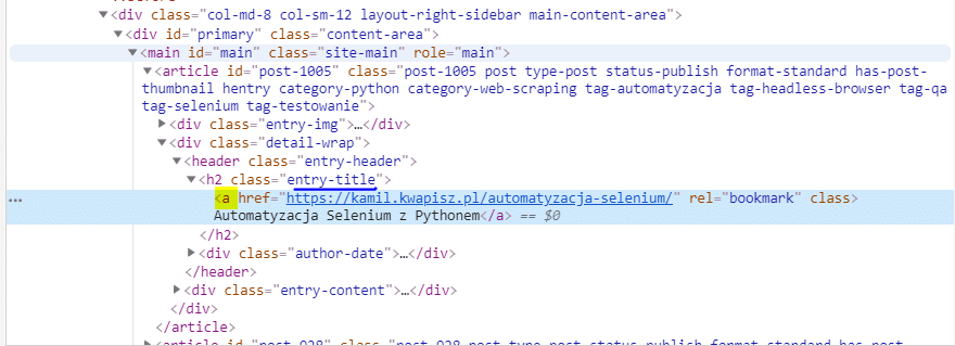 kod html tytułów artykułów